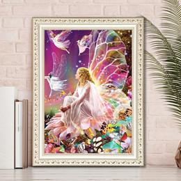 figura de la señora Rebajas DIY 5D Elf fairy Diamond pintura lienzo arte de la pared cuadros Diamante Redondo kits Completo rhinestone punto de cruz costura decoración para el hogar