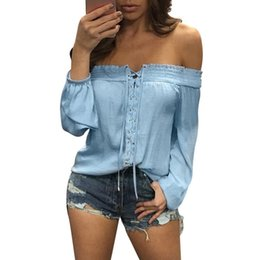 Blusa Femme 2019 Moda Fuera del Hombro Blusas de Gasa Mujeres Tops Lace up Blanco Azul Spirng Otoño Blusas de manga larga mujer desde fabricantes