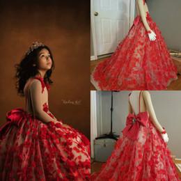 e9efd7fab ... Flores en 3D Vestidos para niñas Manga larga con espalda en V Arco  Vestidos de desfile Adolescentes Niños pequeños Princesa Vestido de fiesta  de boda
