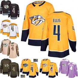 Custom S-XXXL Hombres Mujeres Jóvenes 2018 Nashville 4 Ryan Ellis Amarillo Blanco Ejército Verde Negro 100 camisetas de hockey de camuflaje desde fabricantes