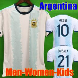 Camiseta de fútbol de Tailandia Argentina copa américa 2019 2020 MESSI DYBALA HIGUAIN ICARDI kit de camiseta de fútbol americano Hombres Mujeres Niños Conjunto de manga larga desde fabricantes
