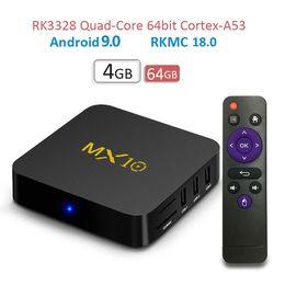 set tv box 3d Rebajas 2019 Nuevo MX10 Android TV BOX Android 9.0 RK3328 Quad core 4G RAM 64G ROM 3D 4K HDR10 H.265 USB 3.0 Media Player Set-top BOX