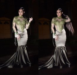 manches longues en dentelle à la menthe Promotion Robes de bal Vintage sirène de bal à manches longues en dentelle verte menthe appliques col haut robes de soirée 2019