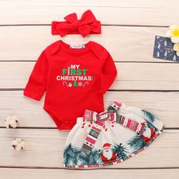 2019 mameluco Baby Girl 2 piezas ropa Romper Top y falda con vestido de día de Navidad con estampado de Santa Claus rebajas mameluco