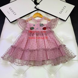 vestidos de verão bebê artesanal Desconto 2019 verão bebê meninas vestido rosa Handmade frisada vestido bordado moda casual vestidos crianças roupas crianças roupas meninas ABD-33