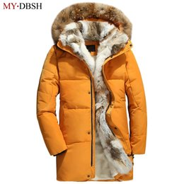 2019 brand fashion mens down jacket winter warm fur collar long coat casual velvet lined parkas male hooded coats big size S~5XL
