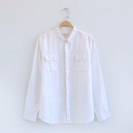 2018 Otoño de doble bolsillo de lino camisa de manga larga masculina estilo  japonés flojo transpirable camisas casuales hombres moda camisa chemise a8f65ba166b0a