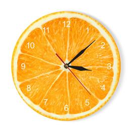 decoração de arte tropical Desconto Limão Amarelo Relógio De Parede De Frutas Cozinha Moderna Relógio De Limão Relógio De Casa Relógio de Sala de estar Frutas Tropicais Relógio de Parede Arte Relógios