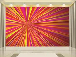 Autocollants de radioprotection en Ligne-Personnalisé taille 3d photo papier peint salon chambre chambre murale 3D lignes de rayonnement image canapé TV toile de fond papier peint autocollant