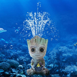 Sivenv Aquarium Air Bubbler Decorations Resin Crafts Ornament Fish Tank Decor with Oxygen Pump Stone Baby Groot Style 1