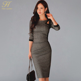 d177b201dcf6 H Han Queen Women Dresses Sexy Hollow Out Package Hip Party Evening Pencil  Vestido Elegant Bow Korean Slim Sheath Bodycon Dress