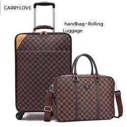 taille valise Promotion CARRYLOVE mode 16/18/20/22/24 pouce taille entreprise d'embarquement sac à main d'embarquement + Rolling Luggage Spinner marque valise de voyage
