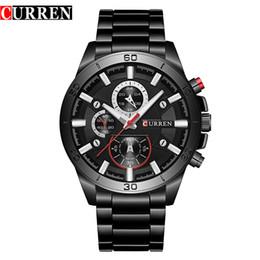 Relógio de pulso em aço inoxidável curren on-line-CURREN 8275 Relogio masculino Moda Mens Relógio de Quartzo Relógio de Aço Inoxidável Relógio de Pulso Dos Homens Relógios Pretos À Prova D 'Água para o Presente
