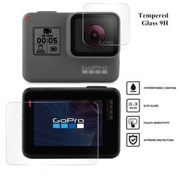 Acessórios gopro preto on-line-Protetor de tela para GoPro herói 7 Black 6 5 Acessórios película protetora de vidro temperado para Go Pro herói 7 6 5 ação da câmera