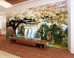 fiber flow Promo Codes - 3d wallpaper custom photo mural HD waterfall flowing water sakura background wall canvas wall art trees home decor wall art pictures