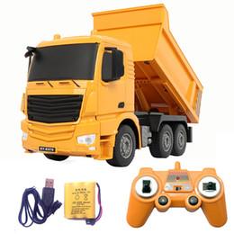 2019 moteur rc nitro Télécommande Jouets Camions 2.4G RC voitures camion à benne basculante Jouets pour enfants garçons Noël cadeaux d'anniversaire jaune couleur RC Engineering camion