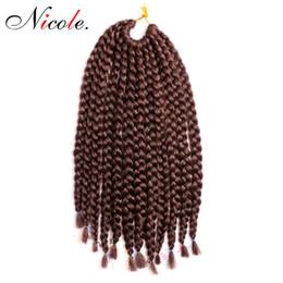2019 crochet hair 12 inch Nicole Box Trecce capelli Crochet capelli estensioni Brown Bug24 Inch 12 Radice / pacco Capelli sintetici a bassa temperatura in fibra crochet hair 12 inch economici