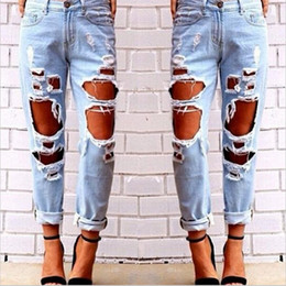 2019 дикие джинсы моды Fashion Womens Destroyed Ripped Jeans Distressed Hole Jeans Trousers Wild sexy exaggerated big hole beggar boyfriend 1 скидка дикие джинсы моды
