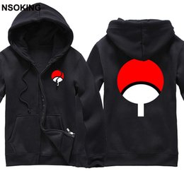Chaqueta sasuke online-Nuevo Naruto Sasuke Uchiha sudadera con capucha Anime chaqueta caot hombres algodón otoño e invierno sudaderas con cremallera