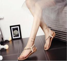 Sandalias planas de oro con cuentas online-Verano 2019 nuevas sandalias bohemias con planos planos de oro con cuentas dedo del pie mujeres transpirable cómodo casual resistente al desgaste moda