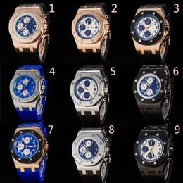 Mejor reloj de la banda deportiva online-Top Luxury Rubber Band Offshore Sports Reloj para hombre Cronógrafo Cronómetro Edición limitada Relojes de pulsera para hombres Mejor regalo