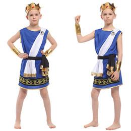 Traje de rey faraón online-Purim Halloween Egipto Rey Príncipe Guerrero Traje Chico Niños Fantasía Faraón Egipcio Cosplay Niños traje de Carnaval