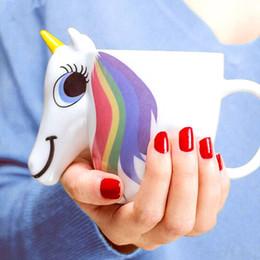 Vendita calda 3D Unicorno Cambia tazza di colore Carino creativo in ceramica tazza di caffè Cartoon porcellana tazze unicorno regali per i bambini da tazza della tazza di caffè 3d del fumetto fornitori