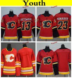 Camisa dos meninos 13 on-line-Juventude calgary chamas 2019 13 Johnny Gaudreau 23 Sean Monahan camisas de hóquei em casa equipe Red barato Womens crianças meninas meninos costurado camisas