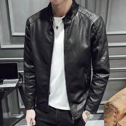 2019 casacos chineses para homens 2019 primavera outono versão coreana dos homens com capuz bonito fino Longo PU jaqueta de couro gola casual Grosso Estilo Chinês Preto casacos chineses para homens barato