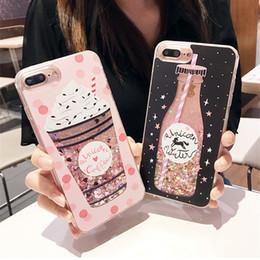 iphone ice Promotion Mode Mignon Bouteille De Bouteille De Crème Glacée Étoile Dynamique Liquide Quicksand Cas de Téléphone Pour iPhone 5 5S 5SE 6 6S 7 8 Plus X Cas