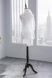 Véu de casamento de camada única on-line-nova Veilbridal Elbow Length única camada véus de noiva Lace Applique Mantilla véus de noiva Católica
