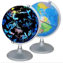 Materiales de puesta a tierra online-Mundo Tierra Globo Luz LED 20 cm Constelación Luminoso Mapa Rotatorio Geografía Escuela de Juguete Educativo Material de Enseñanza Gadgets de Oficina Regalo