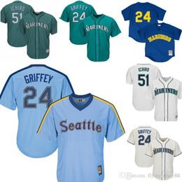 8fec91079 Retro 24 Ken Griffey Jr. Mariners Jersey Mens 51 Ichiro Suzuki Seattle  Mariner Embroidery Baseball Jerseys Cheap wholesale