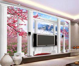 Tapetenspalten online-3D fototapete benutzerdefinierte 3d wandbilder wallpaper mural Fantasy 3d stereo Europäische pflaume landschaft römische säule TV hintergrund wanddekor