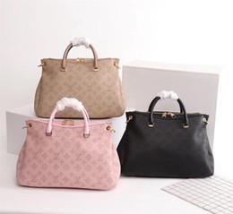 Bolsa de hombro de imitación online-Bolso multifuncional de moda de cuero para mujer, imitación, bolso de diseñador nuevo, bandolera, impresión de moda, gran capacidad, M40906