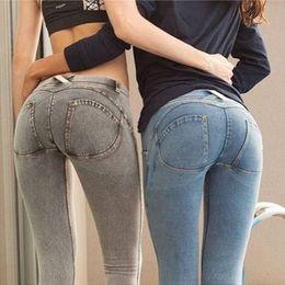 Sexy vaqueros pitillo caderas online-Sexy Push Up Peach Hip Pants Mujeres High Elastic Skinny Jeans Slim Ladies Pantalones Sport Fitness Leggings