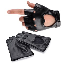 luvas de couro para mulheres curtas Desconto 1pair Women Punk Short Synthetic Leather Gloves Half Fingerless Fashion Lady Handsome Black Gloves