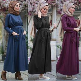 Жемчужное украшенное платье онлайн-Muslim Women Dress Turkish Abaya Muslim Women Summer Solid Color Pearls Embellished Flowing Dress#AY3