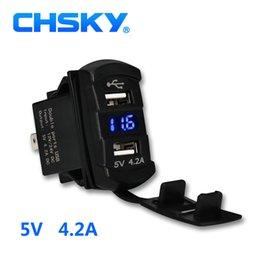 2019 adattatore telefonico doppio Car Charger Power Adapter mobile CHSKY 5V 4.2A Dual USB Phone auto con doppia presa con LED per veicolo moto barca Yacht sconti adattatore telefonico doppio