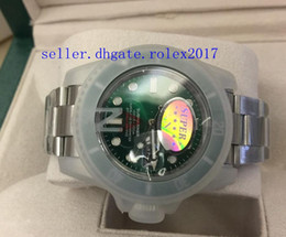 смотреть Скидка 2019 футляр мужские роскошные высокое качество V7 2813 механизм зеленый керамика безель сапфировое стекло 40 мм 116610 116610LV автоматические мужские светящиеся часы