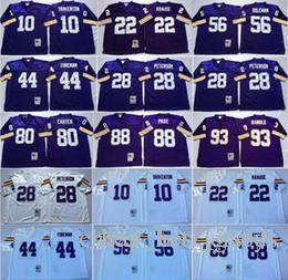 Vintage minnesota trikots online-Vintage Minnesota Peterson Vikings Herren Tarkento 22 Krause 44 Foreman 56 Doleman 80 Carter 88 Alan 93 John Randle 84 Moss Fußball Jersey