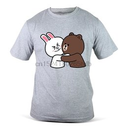 pareja familia camisetas Rebajas 3401-GY Line Hug Couple Lovely Friend Family Funny Grey Camiseta para hombre