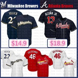 22 Christian Yelich Milwaukee Brewers Béisbol Jersey 2019 Nuevo 13 Ronald  Acuña Jr. Atlanta Braves Cool Base Jersey azul blanco rojo 7a3ef7040