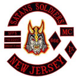 SOLDATI SATANI NEW JERSEY grande ricamo punk in ferro sul retro badge patch biker per jeans giacca 9 pezzi / set da i supporti del telefono fornitori
