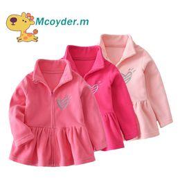 Amour rose vestes en Ligne-Automne Automne Printemps Enfants Outwear Cute Girls Veste polaire doux bébé filles manteau rose Kids Love Jackets de broderie
