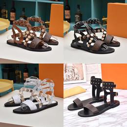 pisos de diseño dama Rebajas LV sandalias de cuña MUJER DE MARCA DE LUJO IMPRESIÓN PIEL NOMAD SANDALIAS DISEÑADOR PIEL SOMBRA PERFECTA LONA LONA SANDALIA LADIES ZAPATAS TAMAÑO 35-41