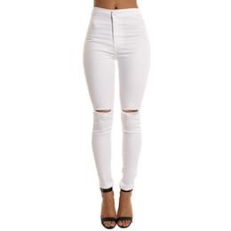 11e5f13fb6d2b4 jeans fidanzato bianco denim Sconti Jeans strappati distrutti da donna a vita  alta Pantaloni lunghi denim