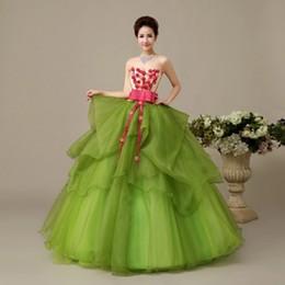 dulce verde 15 vestidos flores Rebajas 2018 flores de moda arco novia vestido de bola vestidos de quinceañera con cordones de organza verde 16 vestidos Debutante 15 años vestido de fiesta BQ111