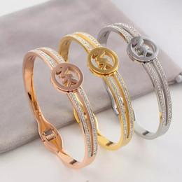 bracelet de diamant en gros Promotion 2019 Nouveau Top Qualité 3 Couleurs Designer Bracelets K Estampille Bracelet à double rangée de diamants Bracelet en acier inoxydable Prix de gros