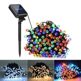 Luces rgb garland online-7m 12m 22m Lámparas solares Luces LED String 100/200 LEDS Fiesta de Navidad de hadas al aire libre Guirnaldas Solar Jardín Césped Luces a prueba de agua